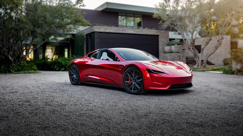 Next-gen Tesla Roadster in red (file photo).