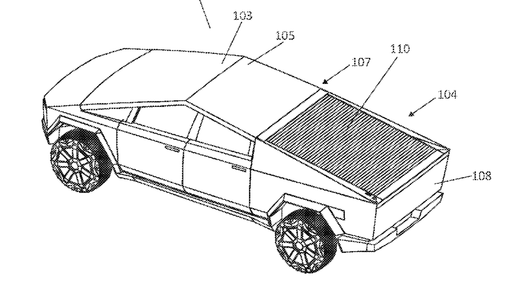 Tesla patent figure for the Cybertruck solar charging truck bed cover.