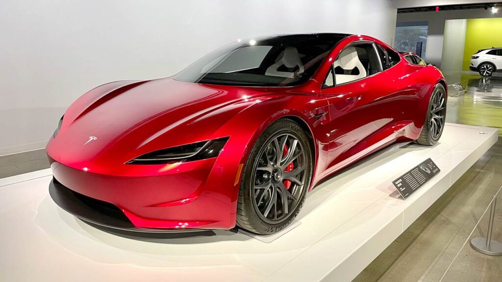 The Next-gen Tesla Roadster on display at the Petersen Museum in California.