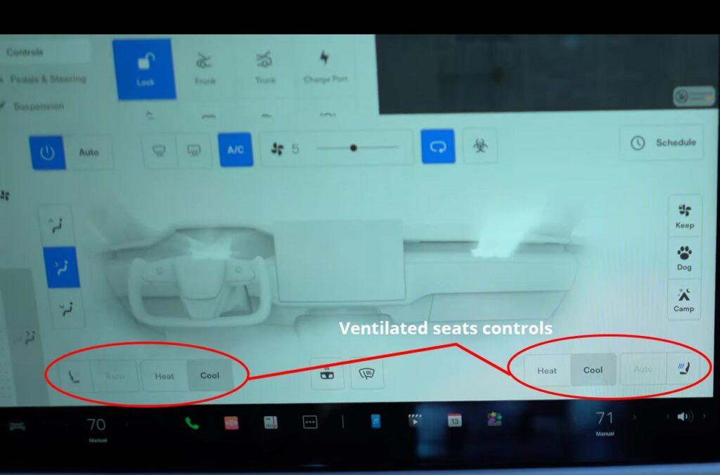 Ventilated seats controls in the Tesla Model S Plaid HVAC UI.