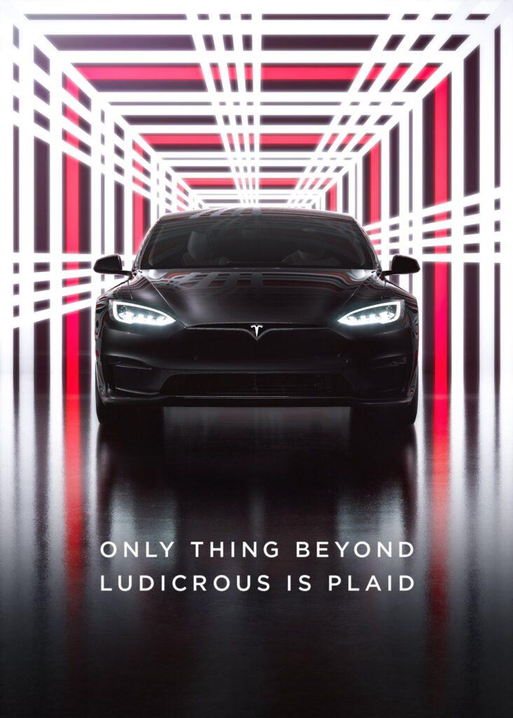 Tesla Model S Plaid delivery event promotional banner.