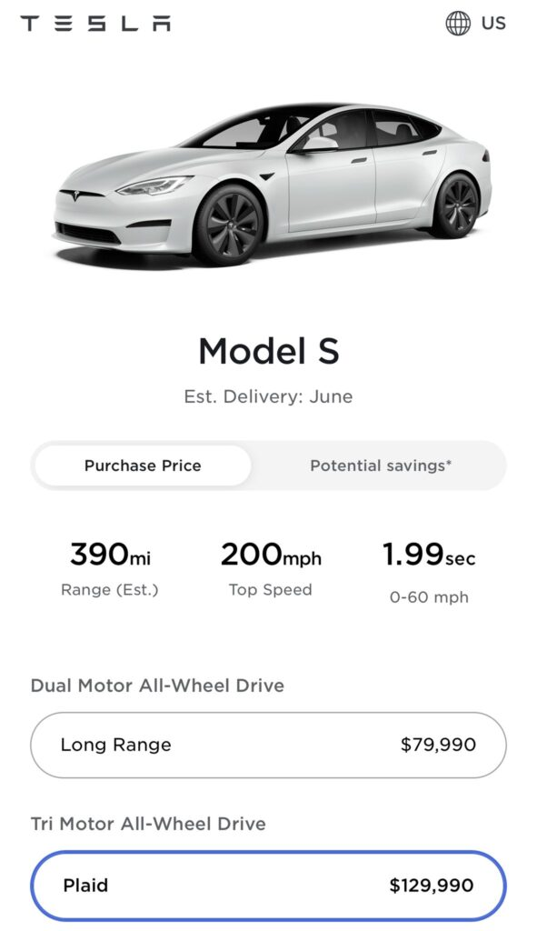 Tesla online car configurator screenshot: Tesla Model S Plaid purchase price is now $129,990 with the $10k increase.