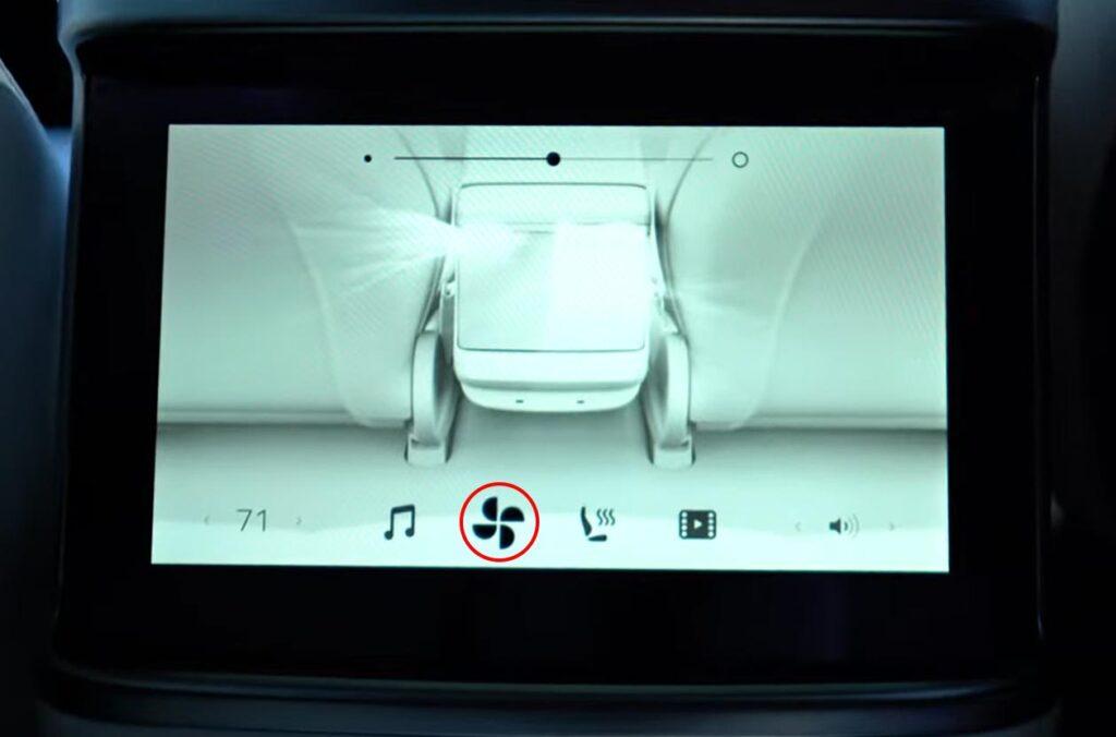 2021 Tesla Model S  Plaid rear screen airflow controls.