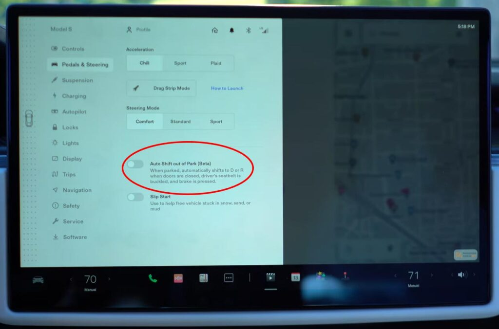 Auto-Shift out of Park option on the Model S Plaid center touchscreen.