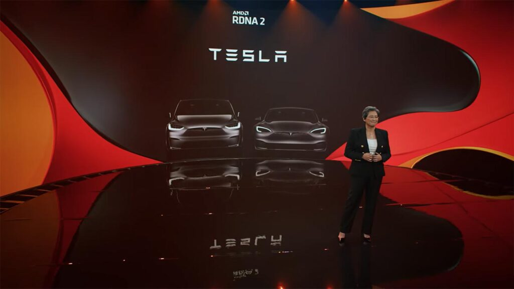 AMD CEO Dr. Lisa Su revealing the Tesla Model S and Model X GPU is AMD RDNA 2 (presentation video in article).