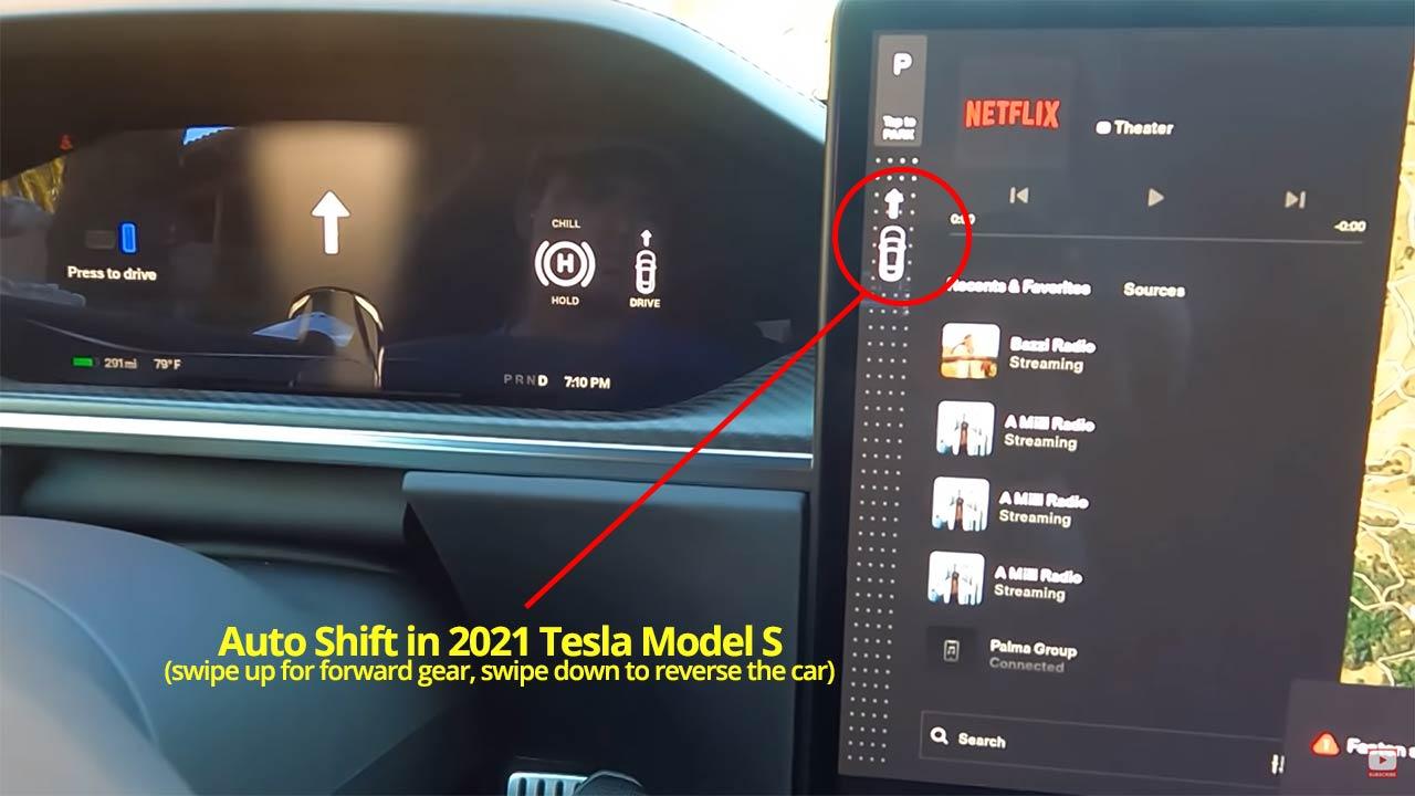 Auto Gear Shift interface in the 2021 Tesla Model S design refresh.