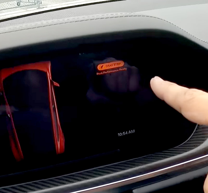 Model S instrument cluster showing Plaid Performance Ready message after pre-conditioning the battery in Drag Strip Mode.