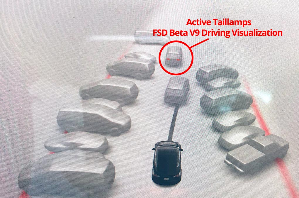 Tesla FSd Beta V9 driving visualization showing active taillamps of a car in front.