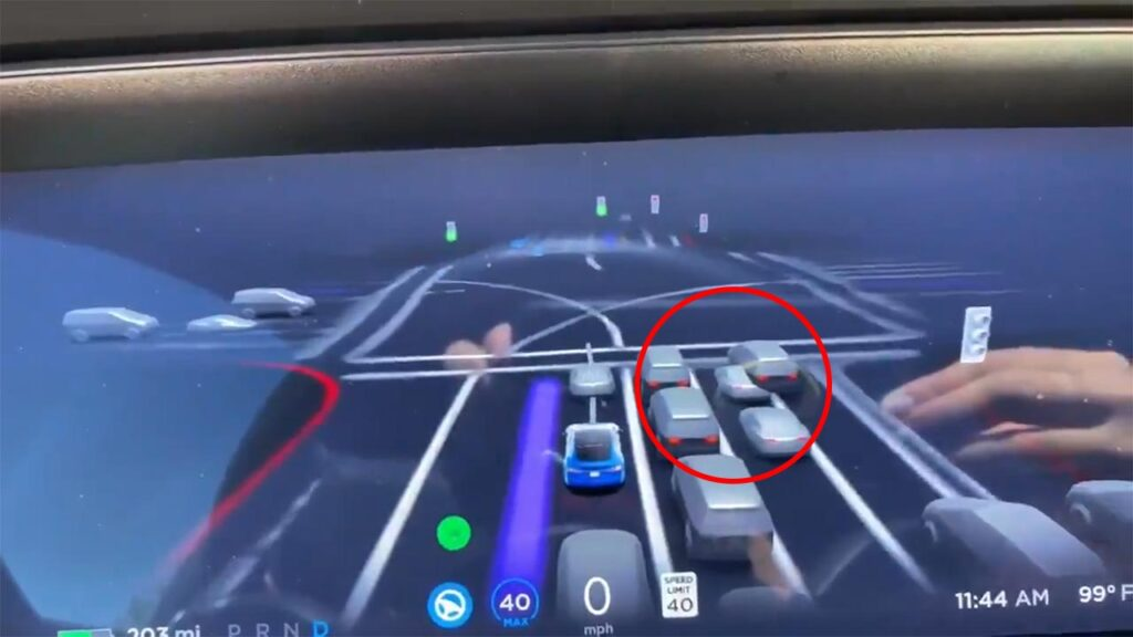 FSD Beta V9 driving visualization rendering shows taillights of surrounding vehicles (details and video in the article).