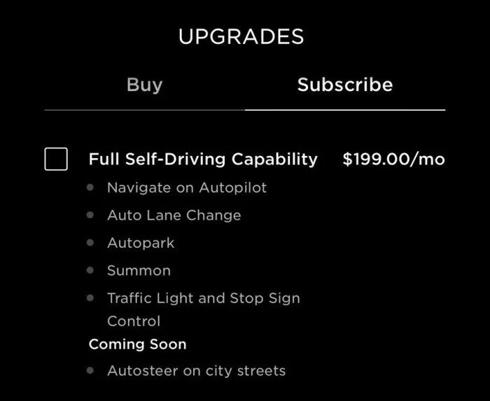 Tesla Full Self-Driving Subscription upgrade screenshot from the Tesla Mobile App.