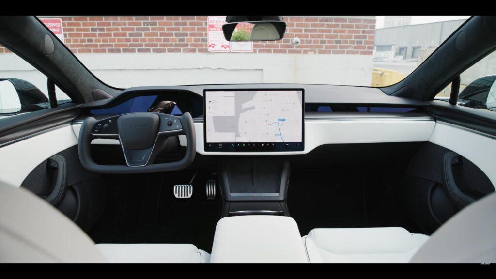 Tesla Model S Plaid white interior.