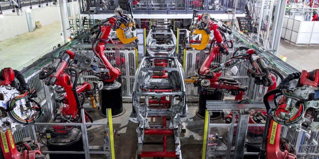 Tesla Model Y body shop at Gigafactory Texas (pic from TSLA Q2 2021 report).