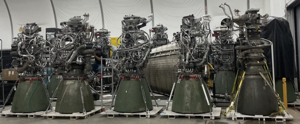 8 Raptor engines in a single picture at SpaceX Rocket Development Facility at McGregor, TX.