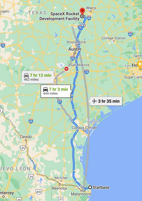 Distance between SpaceX Rocket Development Facility in McGregor, Texas to Starbase launch facility in Boca Chica, Texas.