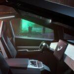 Tesla Cybertruck interior (yoke steering, screen, dash, center console, and front seats).