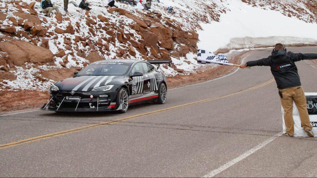 Unplugged Performance Tesla Model S Plaid crossing the finish line at Pikes Peak International Hill Climb.