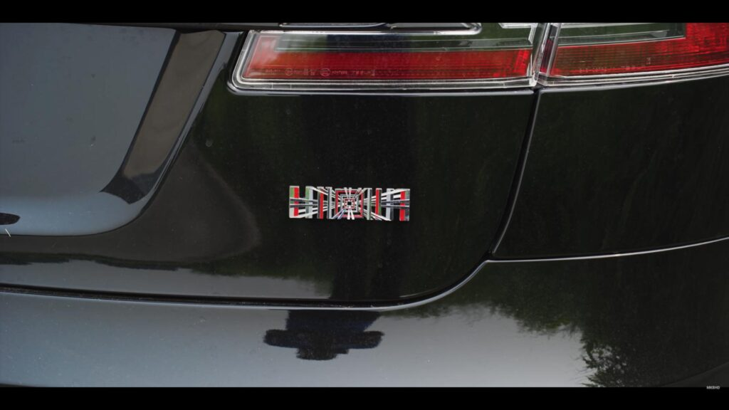 The limited edition Plaid visual badge on MKBHD's Tesla Model S Plaid.
