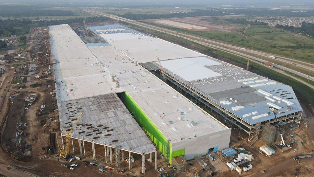 Aerial image of the Tesla Gigafactory Austin, Texas as of August 04,2021.
