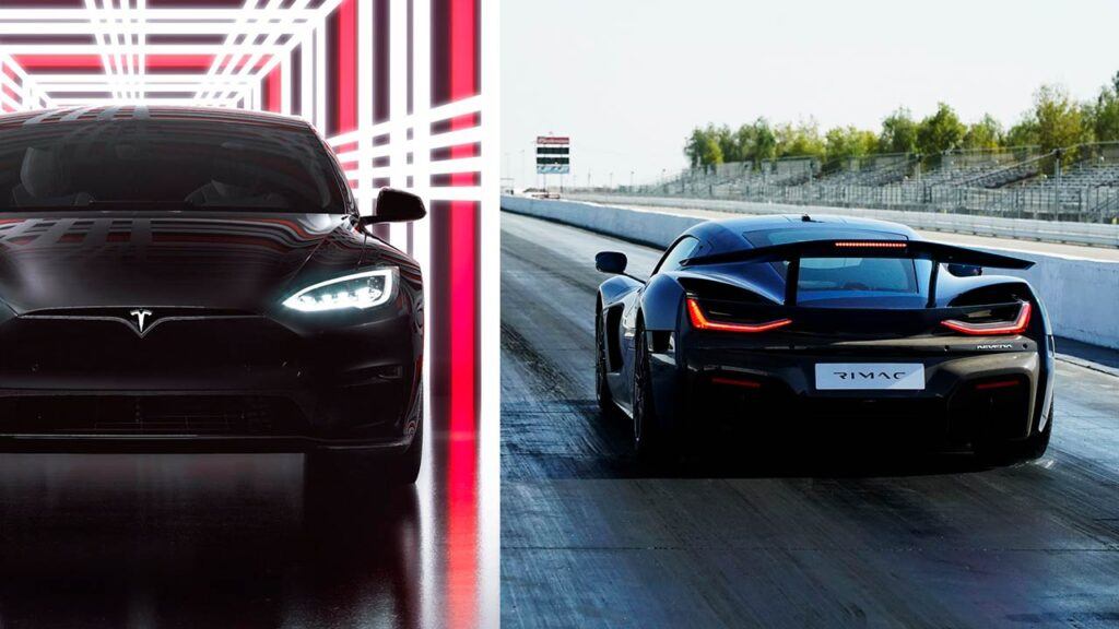 Tesla Model S Plaid vs. Rimac Nevera electric hypercar drag race.
