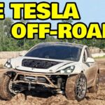 The modified Tesla Model 3 off-roader electric vehicle.