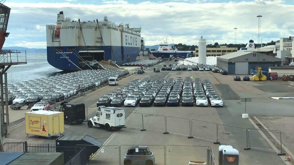 Port of Oslo (Oslo Havn) with hundreds of Tesla Model Y cars unloaded from Glovis Supreme car transport vessel.