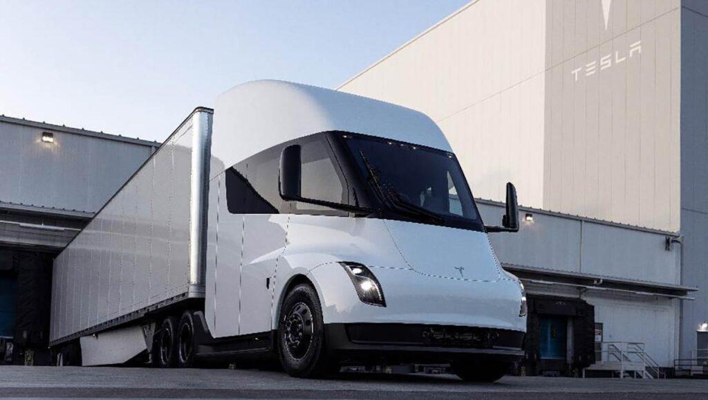 Tesla Semi Truck prototype outside a Tesla Gigafactory.