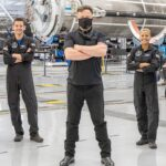 SpaceX CEO Elon Musk with the Inspiration4 civilian crew before the orbital launch.