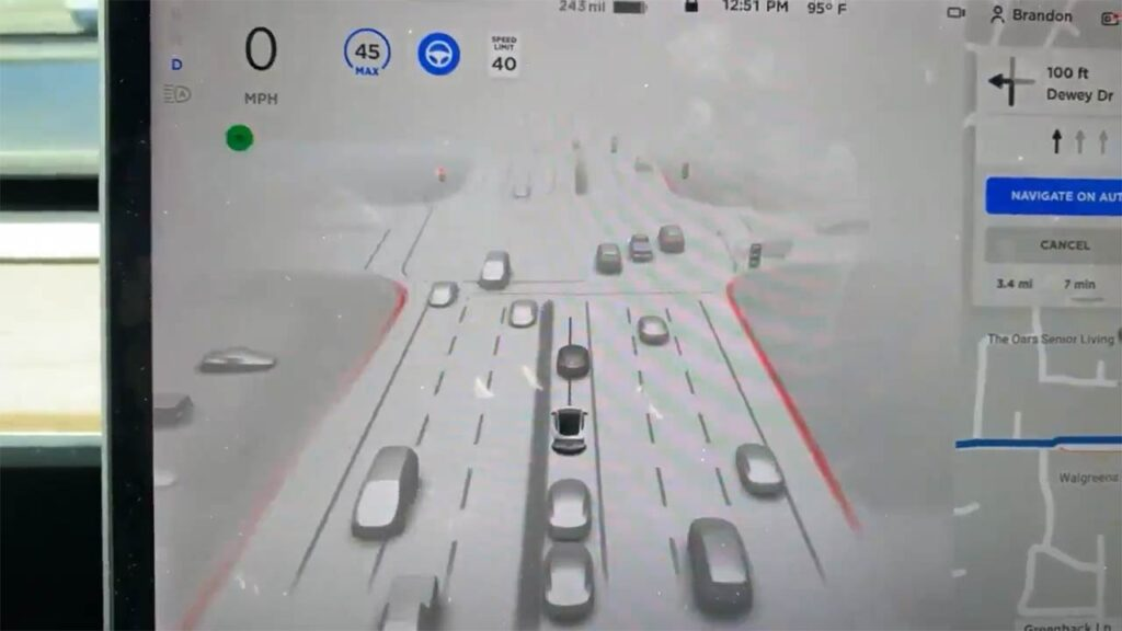 Tesla Full Self-Driving (FSD) Beta V10 birds eye visualization at an intersection.