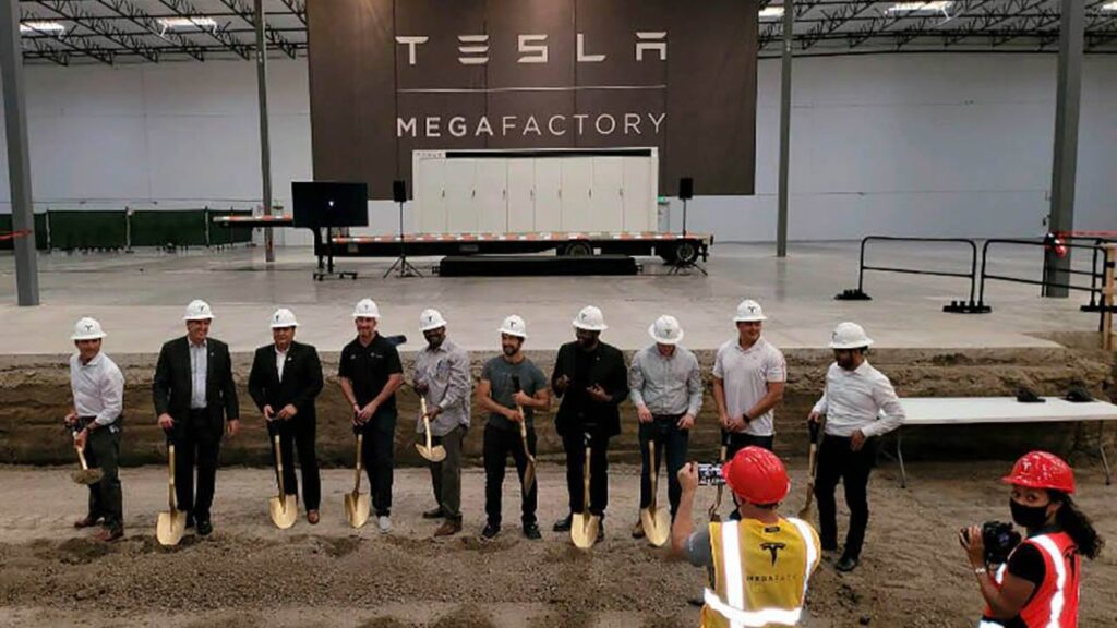 Tesla workers celebrating groundbreaking of the Tesla Megafactory in Lathrop, California.