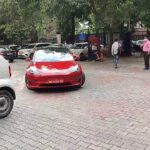 Tesla Model 3 spotted at the transport ministry of India.