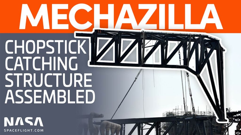 Mechazilla Chopsticks assembly in the works at Starbase, Texas.