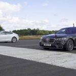 2021 Mercedes Benz S-Class vs. Tesla Model S Performance at the drag race start line.