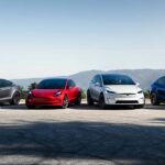 2021 Tesla vehicle lineup; from left to right: Tesla Model S, Tesla Model 3, Tesla Model X, Tesla Model Y.