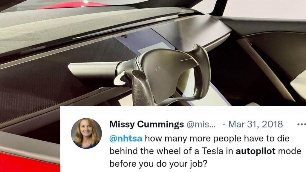 Missy Cummings tweet against Tesla. Next-gen Tesla Roadster's Yoke steering wheel in the background.